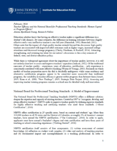 Teacher Efficacy and the National Board for Professional Teaching Standards: Human Capital or Program Effects?