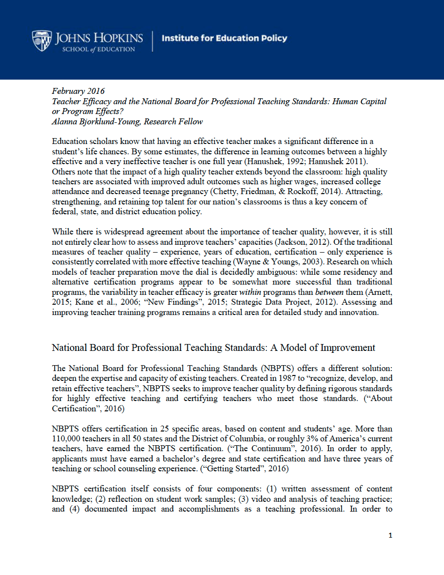 Teacher Efficacy And The National Board For Professional Teaching